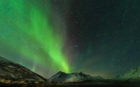Обои небо, звезды, горы, северное сияние