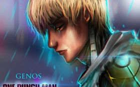 Обои парень, киборг, anime, art, OnePunch-Man, Genos