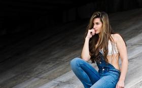 Картинка лето, лицо, волосы, джинсы, комбинезон