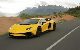 Обои Lamborghini, supercar, yellow, Aventador, Superveloce, LP-750
