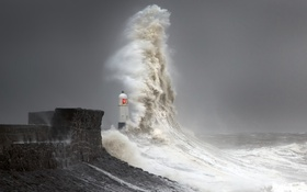 Картинка Storm, Lighthouse, Wave