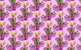 Обои фон, праздник, тюльпан, яйцо, букет, текстура, Пасха