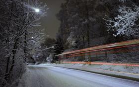 Обои зима, дорога, огни