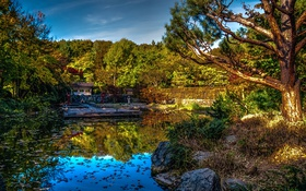 Картинка деревья, пруд, парк, камни, HDR, Германия, Бавария