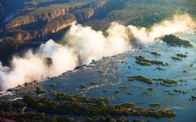 Обои мост, река, обрыв, скалы, водопад, каньон, панорама