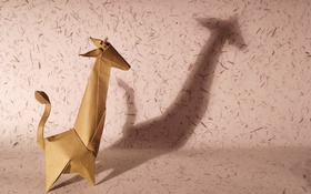 Обои бумага, оригами, жирафа