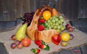 Обои яблоки, клубника, виноград, фрукты, сливы, груши