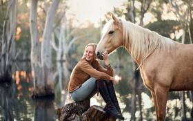 Обои конь, природа, девушка