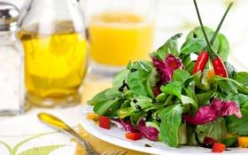 Обои масло, перец, овощи, салат, бальзамик
