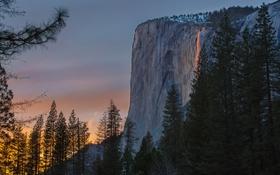 Обои деревья, скала, гора, Калифорния, зарево, США, Марипоса