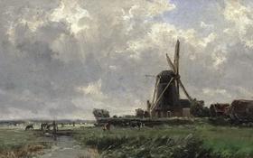 Картинка пейзаж, природа, река, ручей, картина, Карлос де Хаэс, Голландская Мельница