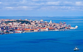 Картинка море, пейзаж, корабль, дома, Португалия, Лиссабон