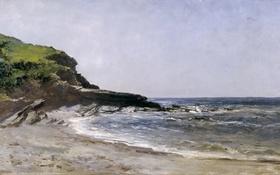 Обои Пляж, картина, морской пейзаж, Карлос де Хаэс