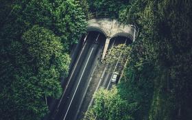 Обои дорога, трасса, туннель, вид сверху, Netherlands, Rotterdam, въезд