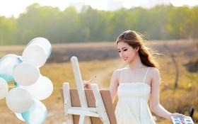 Картинка девушка, шары, картина