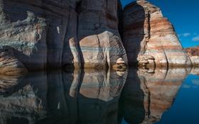 Обои озеро, отражение, скалы, Юта, США, Сан-Хуан