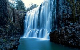 Обои скала, синева, камни, обрыв, водопад, Австралия, Tasmania