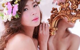Картинка девушка, лицо, зеркало, красавица