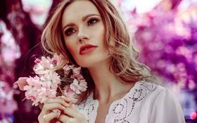 Обои цветы, лицо, фон, волосы, красавица