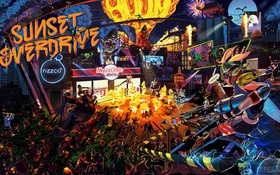 Обои Sunset Overdrive, Insomniac Games, Sunset City, напиток Overcharge Delirium XT, корпорации FizzCo