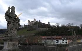 Картинка мост, дома, Германия, Бавария, крепость, Вюрцбург, Мариенберг