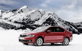 Обои снег, горы, седан, Sedan, шкода, Skoda, Octavia