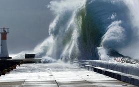 Обои брызги, шторм, маяк, пирс, ЮАР, Кейптаун, Kalk Bay