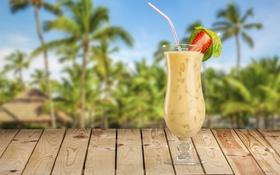 Обои море, пляж, пальмы, коктейль, summer, beach, sea