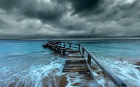 Обои море, небо, мост, природа
