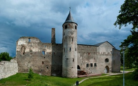 Обои трава, деревья, замок, стены, башня, Эстония, развалины