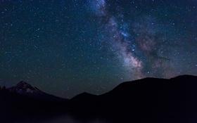 Обои звезды, горы, ночь, природа, силуэт