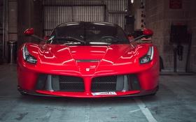 Обои красное, гараж, Феррари, Ferrari, классика, передок