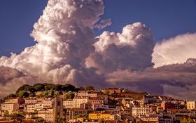 Обои облака, дома, Португалия, Лиссабон, Lisbon
