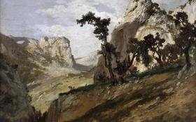 Обои природа, скалы, картина, Карлос де Хаэс, Горный Пейзаж