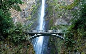 Обои мост, скала, водопад, США, Oregon, Multnomah falls