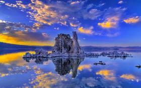 Обои облака, пейзаж, озеро, скалы, зарево