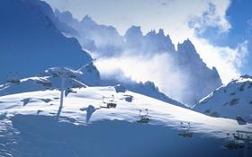 Обои снег, горы, Франция, подъемник, Рона-Альпы, Савойя, Валь Торанс