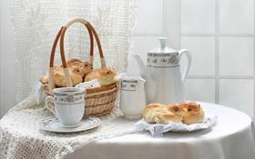 Обои чай, корзина, чашка, натюрморт, выпечка, жаворонки