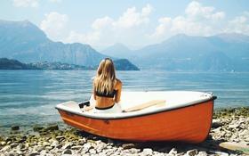 Картинка девушка, природа, лодка