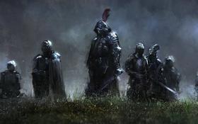 Обои трава, туман, оружие, воин, Рыцарь, доспех