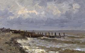 Обои берег, картина, причал, морской пейзаж, Карлос де Хаэс, Море в Виллервиле