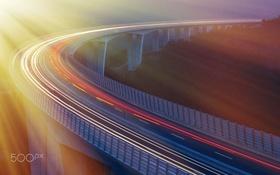 Картинка дорога, свет, мост, утро, выдержка