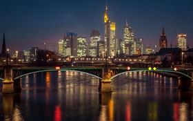 Обои ночь, мост, огни, река, дома, Германия, фонари