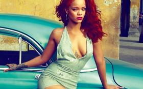 Картинка грудь, взгляд, музыка, модель, певица, рыжая, rihanna