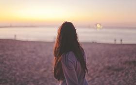 Картинка пляж, девушка, закат