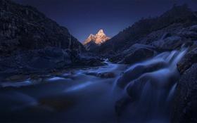 Картинка Moon, Sky, Landscape, Mountain, Night, Nepal, Himalayas