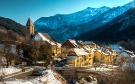 Обои зима, лес, снег, горы, мост, Франция, дома