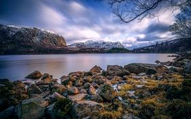 Картинка снег, деревья, горы, озеро, камни, Норвегия, Bjerkreim
