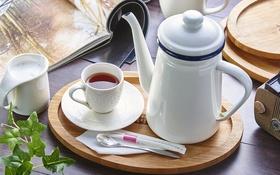 Обои чай, чайник, молоко, чашка