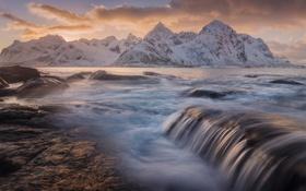 Картинка море, небо, снег, закат, горы, природа